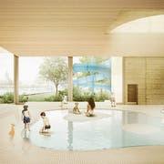 So könnte das neue Hallenbad aussehen. (Visualisierung: PD)