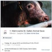 So wirbt Animal Save für die Aktion vom Freitag im Schlachthof Gossau. (Bild: Facebook - 22. Januar 2019)