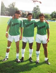 Iván Zamorano, Hugo Rubio und Patricio Mardones während der gemeinsamen Zeit beim FCSG. (Bild: PD)