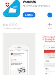 Die Voteinfo-App im App-Store. (Bild: Screenshot)