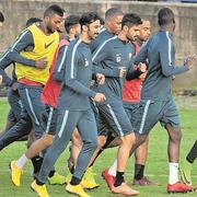 Das katarische Nationalteam im Training im Tessin. (Bild: Pablo Gianinazzi/Keystone (Lugano, 13. November 2018))