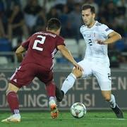 Der neue FCL-Verteidiger Otar Kakabadze spielte zuletzt mit Georgien in der Nations League (hier gegen Lettland). (Bild: Levan Verdzeuli/Getty Images)