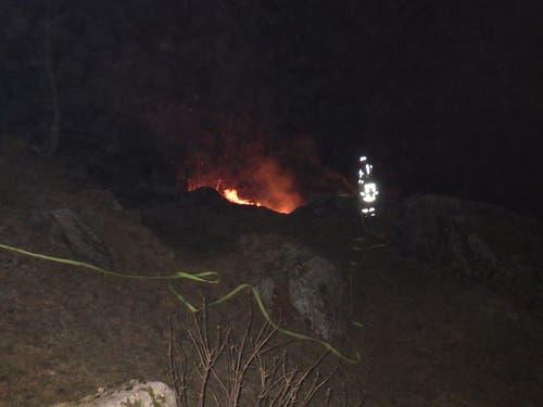 Wassen - 18. NovemberIm Meiental ist zu einem Flurbrand gekommen. Die Feuerwehr konnte den Brand rasch löschen. Die Brandursache ist unbekannt. Verletzt wurde niemand. (Bild: Kantonspolizei Uri)