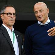 Zwei Schlüsselfiguren des aktuellen FC St.Gallen: Trainer Peter Zeidler (rechts) und Präsident Matthias Hüppi (Bild: Keystone)