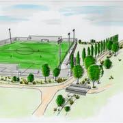 Die Skizze zeigt, wie das Kunstrasenfeld auf dem Döbeli aussehen würde. (Bild: PD)