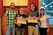 An der Generalversammlung (von links): Präsident Pirmin Sigrist, Cleo Bracale, Adrian Moos und Nathalie Giger. (Bild: PD)