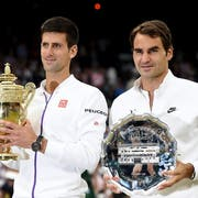Novak Djokovic hat Roger Federer in Wimbledon zweimal im Final besiegt: 2014 und 2015 (Bild). (Bild: Keystone)