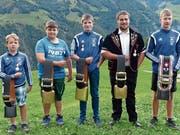 Von links: Andreas Näpflin, Dario Imhof, Fabian Odermatt, Jonas Durrer und Sieger Lars Odermatt. (Bild: franz Niederberger)