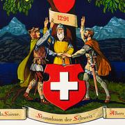 Auf dieser Lithografie aus dem frühen 20. Jahrhundert wurde die Schweiz noch als eine schon 1291 vorbestimmte Nation dargestellt. Die Quellen erzählen aber eine andere Geschichte. (Bild: Schweizerische Nationalbibliothek, Sammlung Druckgrafik Heraldik)