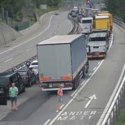 Der Gotthard-Tunnel ist in beiden Richtungen gesperrt. (Bild: TCS Webcam)