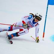 Andrea Ellenberger aus Hergiswil NW während des ersten Laufs in Are. (Bild: Jean-Christophe Bott/Keystone, Are, 14. Februar 2019)
