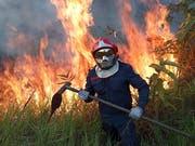 Ein Feuerwehrmann kämpft im Amazonasgebiet gegen die Flammen. (Bild: EPA)