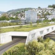 So soll das überdachte Autobahnportal beim Sonnenbergtunnel in Kriens aussehen. Visualisierung PD