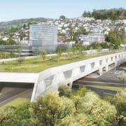 So soll das Südportal des A2-/Bypass-Tunnels im Gebiet Grosshof in Kriens aussehen. Visualisierung PD