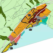 Das Gebiet Unterbärgiswil (gelb M1, ganz unten links) sowie das Gebiet bei der Ratsherrenschüür (gelb M2, daneben) sollen umgezont werden. (Karte: PD)