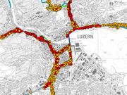 Luzern sieht rot: an den roten Stellen überschreitet die Lärmbelastung den Alarmwert. (Bild: PD/geoportal.lu.ch/)