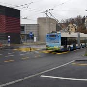 Die Sanierungsarbeiten rund um die Bushaltestelle Steghof sind beendet. (Bild: Tiefbauamt Stadt Luzern, 29. November 2018)