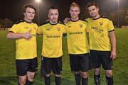Vier der fünf Kirchberger Torschützen, von links: Janic Holenstein, Felix Nagel, Simon Wohlgensinger und Patrick Schönenberger. (Bild: Beat Lanzendorfer)