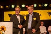 Urban Camenzind (rechts) und René Röthlisberger haben grosse Hoffnung, dass die «Uri 18» noch lange nachwirken wird. (Bild: Marc Püntener, Altdorf, 9. September 2018)