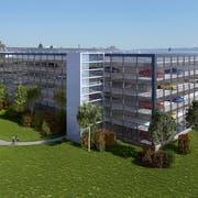 So hätte das Parkhaus neben dem Flugplatz Altenrhein aussehen können. Erschlossen worden wäre es von Norden aus. (Bild: PD)