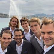 Das Team Europa an den Gestaden des Lac Léman (Bild: Twitter @rogerfederer).