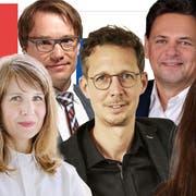 Bekannte Politologen (von links nach rechts) Claude Longchamp, Sarah Bütikofer, Lukas Golder, Michael Hermann, Adrian Vatter und Cloé Jans. (Bild: Keystone/Flurin Bertschinger/zvg, Montage: kob)