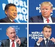 Die grossen Abwesenden am diesjährigen WEF: Chinas Staatschef Xi Jinping, US-Präsident Donald Trump, Russlands Präsident Wladimir Putin und Emmanuel Macron, Präsident von Frankreich. (Bilder: Keystone)