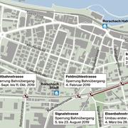 Ab März wird die Eisenbahnstrasse umgebaut. Für Bauarbeiten an den Bahnübergängen werden diese etappenweise gesperrt. (Quelle: SBB/Karte: stb)