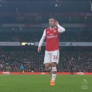 Granit Xhaka (links) wird von den Arsenal-Fans nicht geliebt. (Bild: Screenshot DAZN)