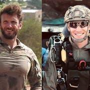 Die beiden getöteten französischen Soldaten Cédric de Pierrepont (links) ujnd Alain Bertoncello. (Bild: EPA)