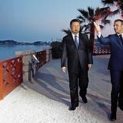 Chinas Präsident Xi Jinping wurde am vergangenen Sonntag vom französischen Präsidenten Emmanuel Macron in Nizza empfangen. Bild: Jean-Paul Pelissier/EPA (Nizza. 24. März 2019)