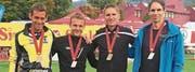 Sie gewannen an der Schweizer Meisterschaft Silber im Team (von links): Mathias Nüesch, Thomas Nauer, Christoph Schefer und Zoltan Török. (Bild: pd)