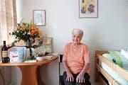 Margaritha Zoller, die älteste Einwohnerin von Au, kurz nach ihrem 100. Geburtstag. (Bild: Benjamin Schmid)
