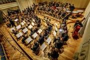 Das sinfonische Blasorchester aulos bei einem Konzertauftritt. Bild Reto Bollinger