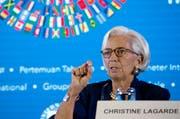 IWF-Chefin Christine Lagarde während einer Medienkonferenz in Bali, Indonesien. (Bild: AP Photo/Firdia Lisnawati (Bali, 11. Oktober 2018))