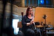 Caroline Krattiger vor einer Probe mit dem aulos-Orchester am Sonntag, 7. Oktober 2018, in der Tonhalle St. Gallen. (Bild: Benjamin Manser, St. Galler Tagblatt)