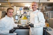 Mivital-Gründer Daniel Strasser (rechts) und sein Sohn Florian Strasser an der Forschungsarbeit. (Bild: Hanspeter Schiess (St.Gallen, 1. Juni 2018))