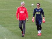 Gegen Belgien gefordert: der Schweizer Nationalcoach Vladimir Petkovic und Goalie Yann Sommer (Bild: KEYSTONE/AP/GEERT VANDEN WIJNGAERT)