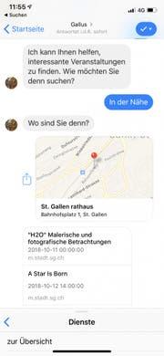 Eine Unterhaltung, aber nur fast. Chat mit «Gallus» über den Facebook-Messenger. (Bild: Screenshot)