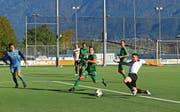 Das Auslassen von Topchancen in der ersten Spielhälfte – hier kommt Michele Beti den berühmten Schritt zu spät – rächte sich für den FC Gams. (Bild: Robert Kucera)