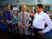 FCL-Trainer René Weiler (rechts) mit Christoph Daum (Mitte) und Moderator Thomas Helmer in der Sendung Doppelpass von Sport1. (Bild Screenshot Sport1)