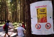 Anfang August hat auch die Gemeinde Grabs ein absolutes Feuer- und Rauchverbot im Wald und in Waldesnähe erlassen, wie hier in der Nähe des Voralpsees. Derzeit gilt hier noch die Gefahrenstufe 3, es gilt noch kein absolutes Verbot. (Bild: Eddy Risch/Keystone)