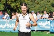 Flavio Rieder hat auf der Halbmarathonstrecke sichtlich zu leiden. (Bild: Alexander Wagner (Beinwil am See, 13. Oktober 2018)