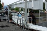 Werden im September 2019 die Zelte für die Wiga wieder aufgebaut? Sind die Werdenberger Gewerbevereine mit Gemeinschaftsständen dabei? Diese Fragen sind noch immer offen. (Bild: Heini Schwendener)