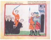 Die Zeichnung zeigt die Enthauptung Konradins auf dem Marktplatz von Neapel 1268. (Bild: Miniatur aus der Chronica des Giovanni Villani, zweite Hälfte 13. Jahrhundert, Vatikanstadt, Biblioteca Apostolica Vaticana, Cod. Chigi L VIII 296, fol. 112))