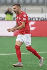 Thun-Stürmer Dejan Sorgic durfte in der laufenden Meisterschaft bereits sechs Mal zu einem Torjubel ansetzen, gegen Luzern hat er zuletzt im April getroffen. (Bild: Marcel Bieri/Keystone (Thun, 7. Oktober 2018))