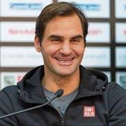 Roger Federer am Sonntag bei der Pressekonferenz in Basel. (Bild: Georgios Kefalas/Keystone, 21. Oktober 2018)