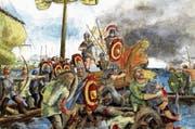 Die Seeschlacht zwischen Römern und Vindelikern (Kelten) 15 v. Chr. auf dem Bodensee – visualisiert von Roland Gäfgen. (Bild: Bilder: PD)