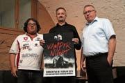 Andy Hafner von der Expofair AG, Stefan Hafner von der Event-Time GmbH und Remo Santschi, Gastgeber im «Wartensee». (Bild: Res Lerch)