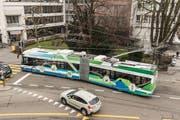 Anfang Jahr haben die Verkehrsbetriebe St.Gallen Probefahrten mit Batterietrolleybussen durchgeführt. (Bild: Hanspeter Schiess - 6. Februar 2018)